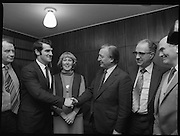 Clement Coughlan New Fianna Fáil TD.  (N50)..1989..11.11.1980..11th November 1980..The new Fianna Fáil TD for Donegal, Mr Clement Coughlan TD took his seat at Dáil Éireann, Leinster House today..Image shows Mr Clement Coughlan TD accompanied by his wife Peggy, meeting with an Taoiseach, Mr Charles Haughey in his private offices.