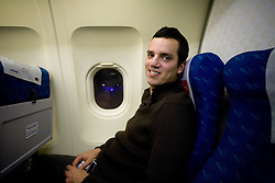 Rok Viskovic at airplane from Moscow to Maribor and Ljubljana after the FIFA World Cup South Africa 2010 Qualifying play-off match between Russia and Slovenia,  on November 14, 2009, in Moscow, Slovenia.   (Photo by Vid Ponikvar / Sportida)
