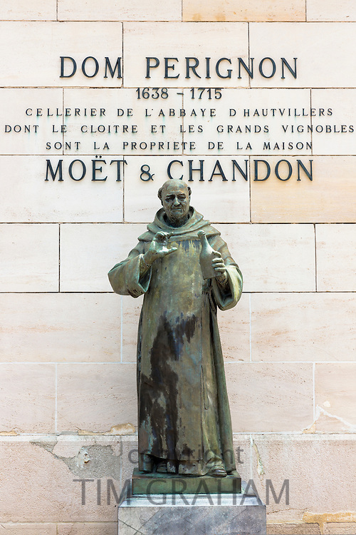 Statue of Dom Perignon at Moet and Chandon Champagne House in Avenue de Champagne, Epernay, Champagne-Ardenne, France
