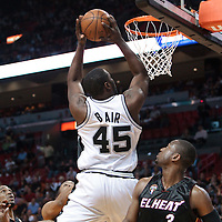 16 March 2010: San Antonio Spurs DeJuan Blair dunks the ball during the San Antonio Spurs 88-76 victory over the Miami Heat at the AmericanAirlines  Arena, in Miami, Florida, USA.