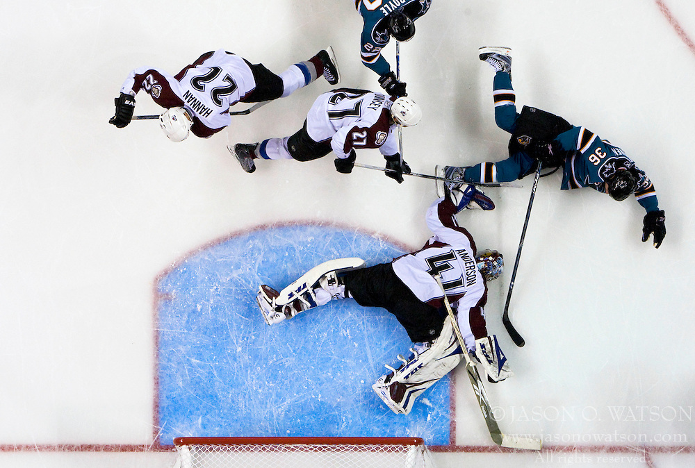 April 22, 2010; San Jose, CA, USA; San Jose Sharks center Dwight Helminen (36) celebrates after scoring a goal against Colorado Avalanche goaltender Craig Anderson (41) during the second period of game five in the first round of the 2010 Stanley Cup Playoffs at HP Pavilion. The Sharks defeated the Avalanche 5-0. Mandatory Credit: Jason O. Watson / US PRESSWIRE