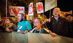 6 December 2019, Madrid, Spain: Faith-based participants from the Lutheran World Federation, the World Council of Churches and the ACT Alliance join in as thousands upon thousands of people march through the streets of central Madrid as part of a public contribution to the United Nations climate meeting COP25, urging decision-makers to take action for climate justice. Here, Lutheran World Federation delegate Stephanie Joy Abnasan from the Lutheran Church in Philippines.