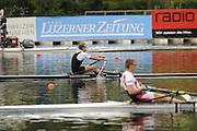 Lucerne, SWITZERLAND.  Men's Single sculls final, Silver Medalist,  NZL M1X, Mahe DRYSDALE and  Gold Medalist, CZE M1X, Ondrej SYNEK, celebrates after winning the final, at the  2008 FISA World Cup Regatta, Round 2.  Lake Rotsee, on Sunday 01/06/2008.  [Mandatory Credit:  Peter Spurrier/Intersport Images].Lucerne International Regatta. Rowing Course, Lake Rottsee, Lucerne, SWITZERLAND.