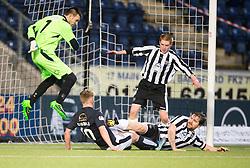 Fraserburgh's keeper Joe Barbour, and Falkirk's Craig Sibbald tackled by Fraserburgh's Russell McBride. <br /> Half time ; Falkirk 1 v 0 Fraserburgh, Scottish Cup third round, played 28/11/2015 at The Falkirk Stadium.