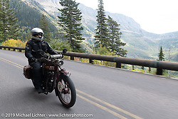 Ziggy riding his 1928 Indian 101 Scout on the Motorcycle Cannonball coast to coast vintage run. Stage 12 (242 miles) from Great Falls to Kalispell, MT. Thursday September 20, 2018. Photography ©2018 Michael Lichter.