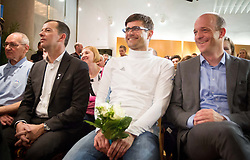 Enzo Smrekar, president od SZS, Matjaz Rakovec, president of HZS and Jurij Zurej, director of SZS at reception of Slovenia team arrived from Winter Olympic Games Sochi 2014 on February 19, 2014 at Airport Joze Pucnik, Brnik, Slovenia. Photo by Vid Ponikvar / Sportida