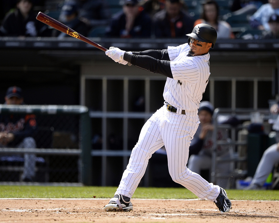 CHICAGO - APRIL 04:  Jacob May #32 of the Chicago White Sox bats against the Detroit Tigers on April 04, 2017 at Guaranteed Rate Field in Chicago, Illinois.  The Tigers defeated the White Sox 6-3.  (Photo by Ron Vesely)   Subject:  Jacob May