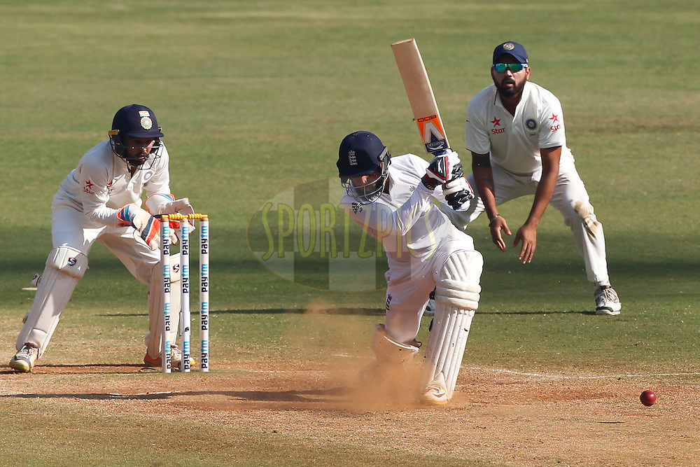 Adil Rashid of England plays a shot during day 5 of the fourth test match between India and England held at the Wankhede Stadium, Mumbai on the 12th December 2016.<br /> <br /> Photo by: Deepak Malik/ BCCI/ SPORTZPICS
