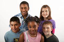 Multiracial group of teenage boys and girls,