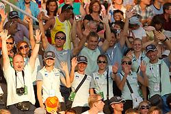 Coach Albert Soba, coach Slavko Malnar, Liona Rebernik, Tina Sutej, Bostjan Fridrih, Anja Puc, Dejan Skoflek, Dasa Bajec, Robert Rudelic, Sabina Veit, Maja Mihalinec and Gregor Kokalovic of team Slovenia watching Snezana Rodic of Slovenia when she competes during the women's triple jump final at the 2010 European Athletics Championships at the Olympic Stadium in Barcelona on July 31, 2010.(Photo by Vid Ponikvar / Sportida)