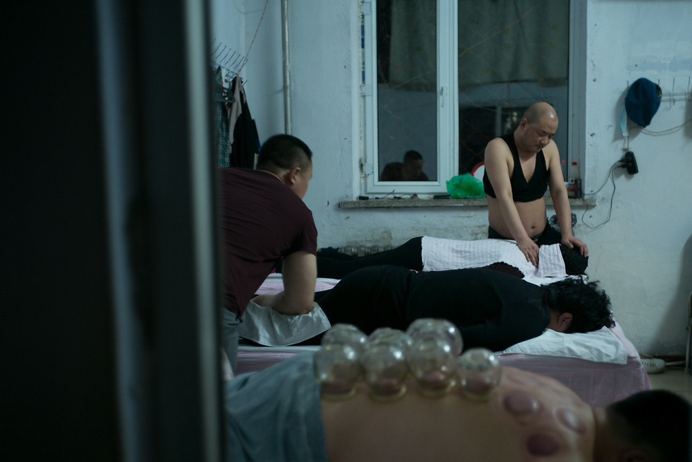 With classical Chinese music playing on the radio, and exchanges between masseurs and regulars on everything from China's gender imbalance to the best local street food, it's a lively atmosphere.