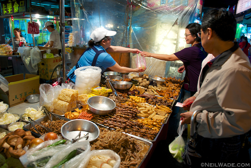 Stalls like this one can be found all over Raohe Night Market, and on many street corners, all over Taiwan.  The deep fry everything from tofu to chicken hearts, to intestines.