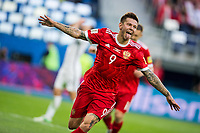 (170618) -- ST. PETERSBURG, June 18, 2017 -- Fedor Smolov (front) of Russia celebrates his scoring during the group A match between Russia and New Zealand of the 2017 FIFA Confederations Cup in St. Petersburg, Russia, on June 17, 2017. Russia won 2-0. ) (SP)RUSSIA-ST. PETERSBURG-2017 FIFA CONFEDERATIONS CUP-RUS VS NZL<br /> <br /> <br /> Norway only