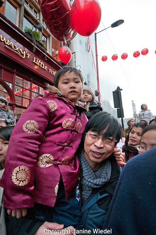 Family at Chinese New Year Celebrations in Soho London