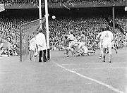 Players look on to see if the ball goes over the Armagh goal or will it go wide during the All Ireland Senior Gaelic Football Semi Final Replay Roscommon v Armagh in Croke Park on the 28th August 1977. Armagh 0-15 Roscommon 0-14.
