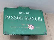 Street sign at Rua de Passos Manuel, Porto, Portugal