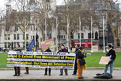 London, UK. 29th January, 2019. Activists from Movement For Justice By Any Means Necessary protest against Brexit outside the Palace of Westminster on the day of votes in the House of Commons on amendments to the Prime Minister's final Brexit withdrawal agreement which could determine the content of the next stage of negotiations with the European Union.