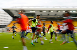 Charlton Athletic players warm up prior to the match