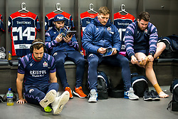 Luke Morahan, Jordan Williams, Nick Fenton-Wells and Ryan Bevington prepare in the Bristol Rugby dressing room - Rogan/JMP - 22/12/2017 - RUGBY UNION - Ashton Gate Stadium - Bristol, England - Bristol Rugby v Cornish Pirates - Greene King IPA Championship.