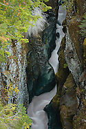 Looking down 185 feet to the Cowlitz River in it's box canyon at Mount Rainier National Park, WA, USA