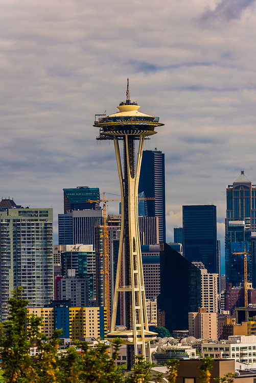Downtown Seattle, Washington USA with the Space Needle in the foreground.