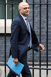 London, UK. 12th February, 2019. Sajid Javid MP, Secretary of State for the Home Department, leaves 10 Downing Street following a Cabinet meeting.