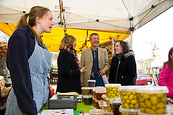 Pictured: Alice Crighton (on her first day at the market, Beth Berry, organiser of the Three Edinburgh Farmers markets, Willie Rennie and Hannah Bettsworth, Liberal Democrat candidate for Edinburgh Central and the Lothian regional list<br /> <br /> Liberal Democrat leader Willie Rennie and  Hannah Bettsworth, Liberal Democrat candidate for Edinburgh Central and the Lothian regional list, headed to Stockbridge today to meet Easter shoppers and stallholders at the Sunday farmers market. <br /> <br /> Ger Harley | EEm 27 March 2016