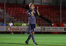 Charlton Athletic's George Lapsie celebrates after the final whistle