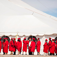 051713       Brian Leddy<br /> Navajo Technical Students wait for commencement ceremonies to begin Friday in Crownpoint. The school graduated 176 students at this year's event.