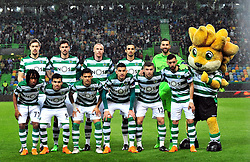 LISBON, April 13, 2018  Players of Sporting pose for a group photo during the Europa League quarterfinal second leg soccer match between Sporting CP and Club Atletico de Madrid at the Jose Alvalade stadium in Lisbon, Portugal, on April 12, 2018. Sporting won 1-0 but was eliminated by a 1-2 aggregate. (Credit Image: © Zhang Yadong/Xinhua via ZUMA Wire)