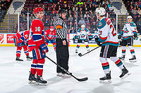KELOWNA, CANADA - MARCH 13:  Referee Jeff Ingram stands at centre ice for the face-off between the Kelowna Rockets and the Spokane Chiefs on March 13, 2019 at Prospera Place in Kelowna, British Columbia, Canada.  (Photo by Marissa Baecker/Shoot the Breeze)