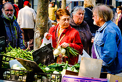 Shoppers at a farmer's market in the Place Carnot in Carcassonne in southern France<br /> <br /> (c) Andrew Wilson   Edinburgh Elite media