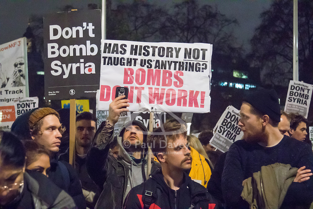 Westminster, London, December 2nd 2015.  As Parliament prepares to vote on air strikes on Islamic State terrorists in Syria, Stop The War and other groups opposed to British military involvement protest outside Parliament. PICTURED: ///FOR LICENCING CONTACT: paul@pauldaveycreative.co.uk TEL:+44 (0) 7966 016 296 or +44 (0) 20 8969 6875. ©2015 Paul R Davey. All rights reserved.