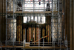 © Licensed to London News Pictures. 26/04/2016. YORK, UK.  Work starts to refurbish York Minsterís Grand Organ for the first time in over 100 years . pic by Nigel Roddis.  Throughout October, organ specialists will remove the instrument including almost all its 5,403 pipes and take it to their workshop in Durham for repair and rebuilding.The refurbishment work is the first on this scale since 1903. It will cost £2m and take around two years to complete, with the restored instrument due to be ready for use in autumn 2020.  Photo credit: Nigel Roddis/LNP