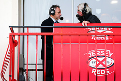 Bristol Rugby Chief Operating Officer Mark Tainton is interviewd by local broadcasters after a bonus point win - Rogan/JMP - 28/10/2017 - RUGBY UNION - Stade Santander International - St Peter, Jersey - Jersey Reds v Bristol Rugby - Greene King IPA Championship.