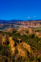 View of Badlands from Mirador del Fin del Mundo looking to the town of El Marchal, near Guadix, Granada Province, Andalusia, Spain.