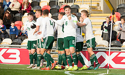 NEWPORT, WALES - Tuesday, November 19, 2019: Wales' captain Morgan Boyes celebrates the goal from Harry Pinchard during the UEFA Under-19 Championship Qualifying Group 5 match between Kosovo and Wales at Rodney Parade. (Pic by Laura Malkin/Propaganda)