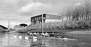 London. United Kingdom.  1987 Tideway Scullers School Boat House by Chiswck Bridge.  Championship Course Mortlake to Putney. River Thames.  Saturday 21.03.1987<br /> <br /> [Mandatory Credit: Peter SPURRIER/Intersport images] 19870321 Pre Boat Race fixture, National Squard vs Cambridge UBC, London UK