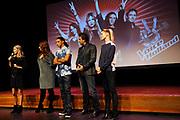 Perspresentatie van het vierde seizoen van The Voice of Holland in het Spant in Bussum.<br /> <br /> Op de foto:  Wendy van Dijk met de coaches Trijntje Oosterhuis , Ali B. , Marco Borsato en Ilse de Lange
