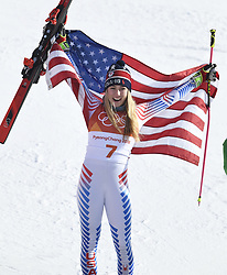 February 15, 2018 - Pyeongchang, South Korea - MIKAELA SHIFFRIN of the United States celebrates winning gold in the Women's Giant Slalom event at the Yongpyang Alpine Center at the Pyeongchang Winter Olympic Games. (Credit Image: © Mark Reis via ZUMA Wire)