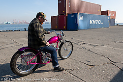 Ryan Mullion on his Tiger Shack 1953 Triumph 6T custom at the docks on setup day for the 27th Annual Mooneyes Yokohama Hot Rod Custom Show 2018. Yokohama, Japan. Saturday, December 1, 2018. Photography ©2018 Michael Lichter.