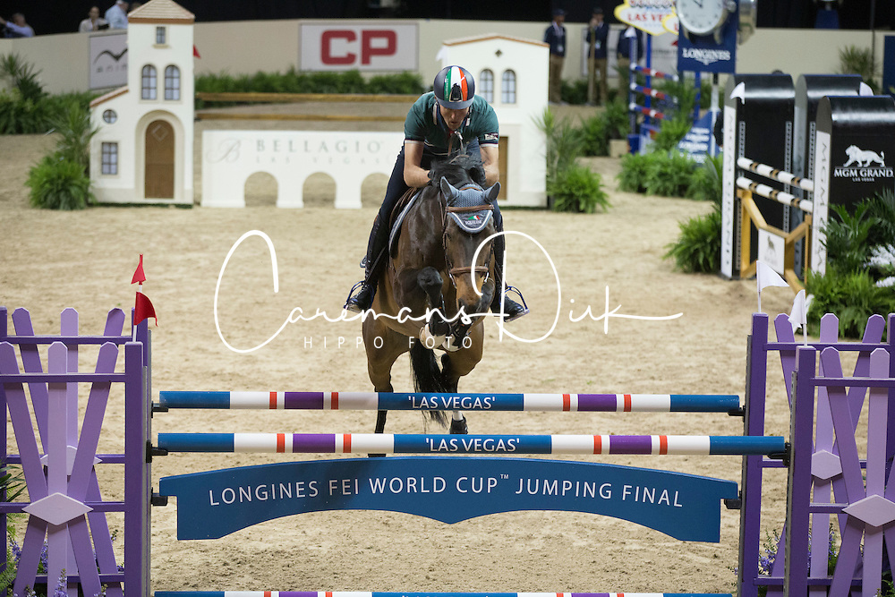 Moneta Luca Maria, (ITA), Connery <br /> Training session<br /> Longines FEI World Cup™ Jumping Finals <br /> Las Vegas 2015<br />  © Hippo Foto - Dirk Caremans<br /> 15/04/15