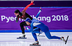19-02-2018 KOR: Olympic Games day 10, PyeongChang<br /> 500 m men at Gangneung Oval / Jun-Ho Kim of Korea, Laurent Dubreuil of Canada (r)