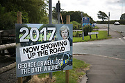 A sign put up by anti-fracking activists in New Preston Road, July 01 2017, Lancashire, United Kingdom. A sign referenceing George Orwell and his book 1984.  Lancashire voted against permitting fracking but was over ruled by the conservative central Government.  Fracking is a highly contested way of extracting gas, it is risky to extract and damaging to the environment and is banned in parts of Europe . Lancashire has in the past experienced earth quakes blamed on fracking.