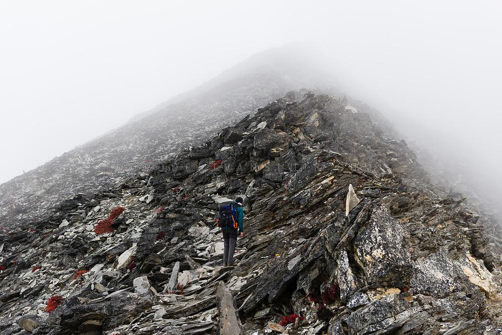 In the Nepal Himalaya, a hiker ascends Chhukung Ri (5550 m). Photo © robertvansluis.com