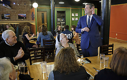 March 30, 2019 - Sioux City, IOWA, USA - Rep. TIM RYAN (D-OH), standing, jokes around with members of the Woodbury County Democrat party during a meet and greet at a downtown restaurant in Sioux City, Iowa Saturday, March 30, 2019. (Credit Image: © Jerry Mennenga/ZUMA Wire)