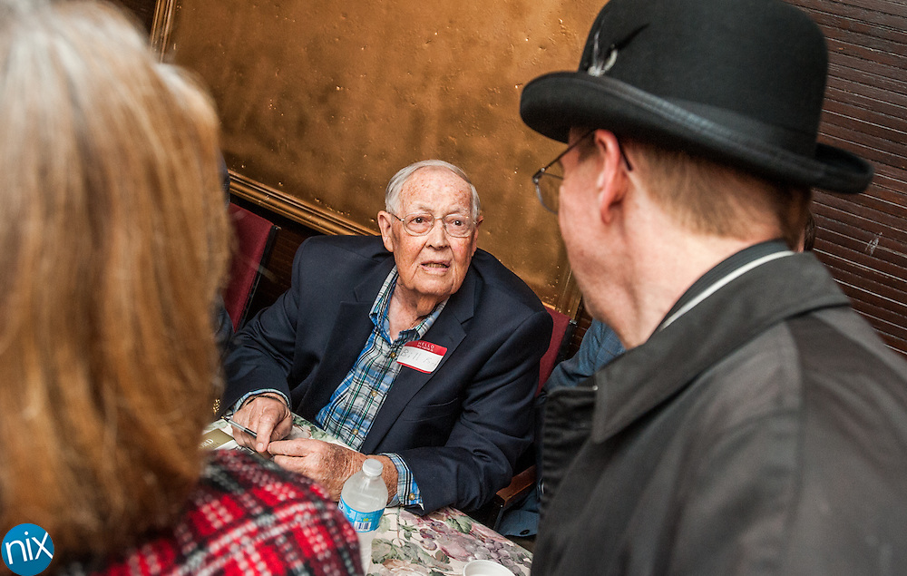 """Former Concord baseball player and coach signs books during Legendary Locals Day at the Old Courthouse Theatre in Concord Sunday afternoon. The various """"legendary celebrities"""" are from historian Michael Eury's new book """"Legendary Locals of Concord."""""""