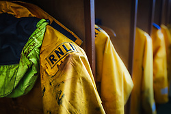 Raincoats at Royal National Lifeboat Institution facility, Achill Island, County Mayo, Ireland