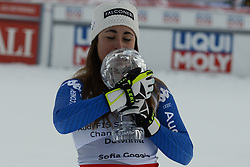 March 14, 2018 - Are, Sweden - SOFIA GOGGIA of Italy poses with the her crystal globe for winning the FIS downhill ski racing season title at the FIS World Cup Finals in Are Sweden (Credit Image: © Christopher Levy via ZUMA Wire)