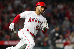 May 18, 2018 - Anaheim, CA, U.S. - ANAHEIM, CA - MAY 18: Michael Hermosillo (59) of the Angels hustles over to second base for a double during the major league baseball game between the Tampa Bay Rays and the Los Angeles Angels on May 18, 2018 at Angel Stadium of Anaheim in Anaheim, California. (Photo by Cliff Welch/Icon Sportswire) (Credit Image: © Cliff Welch/Icon SMI via ZUMA Press)